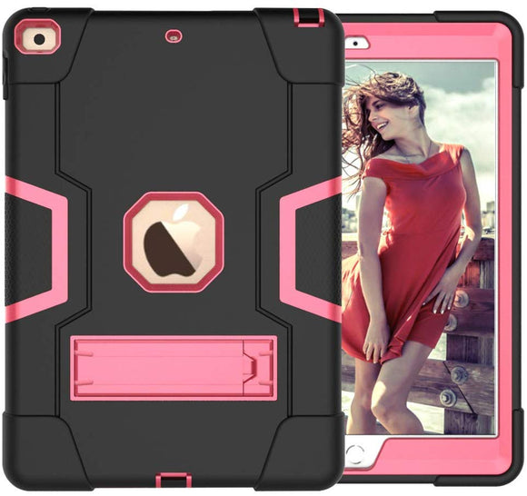 IPAD 10.2 INCH 7TH GENERATION (2019 MODEL) HEAVY DUTY SHOCKPROOF ANTI-SLIP SILICONE HIGH IMPACT RESISTANT HYBRID THREE LAYER ARMOR PROTECTIVE CASE COVER WITH KICKSTAND- PINK
