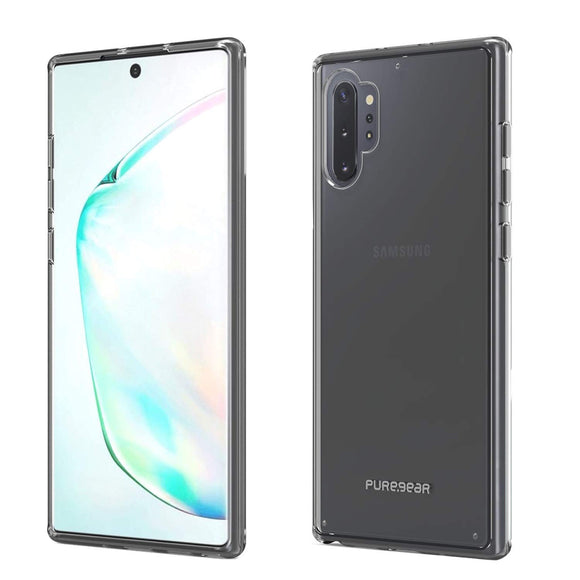 PureGear Slim Shell Cellphone Case Compatible for Samsung Galaxy Note10+ Snap-On Ultra Thin Sleek Flexible Durable Hard Protective, Functional Metal Buttons (Clear)