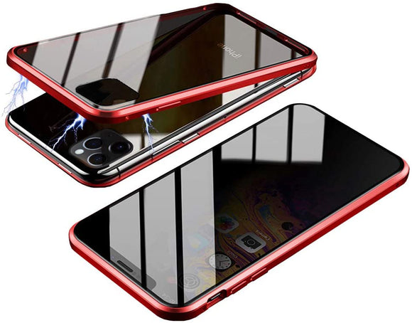 Privacy Magnetic Glass case iPhone 11 Pro Max - (Red)