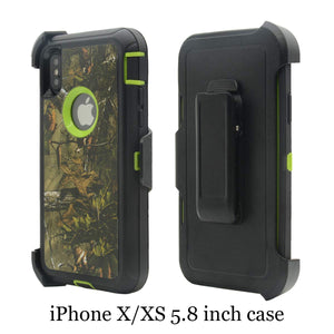 iPhone XS / iPhone X, Heavy Duty Shockproof Dirtproof Defender Case Cover + 1 Belt Clip Holster (Green forest)