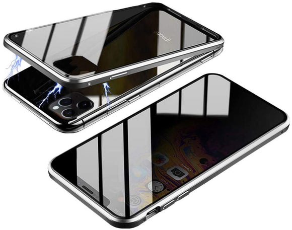 Privacy Magnetic Glass case iPhone 11 Pro Max - (Silver)