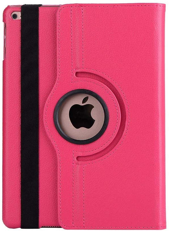 iPad 10.2/ iPad 7th gen 360 Rotating PU Leather Stand Case Hard Back Shell Cover (Hot Pink)