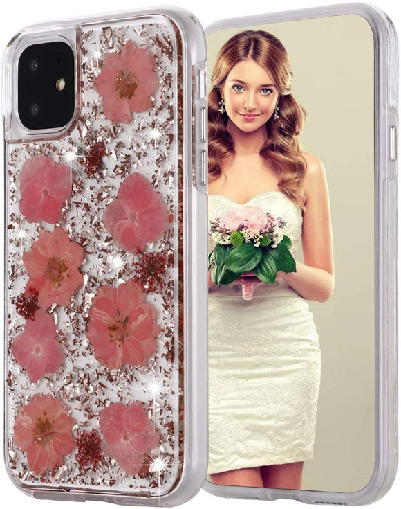 iPhone 12/12 Pro Pink Flake & Flower Infused Case