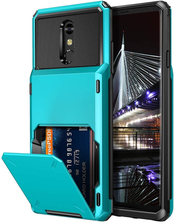 LG Stylo 6 Credit Card Hybrid Case- Blue
