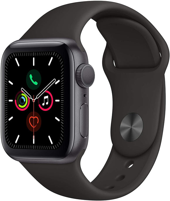 Apple Watch Series 5 (GPS) 40mm Space Gray Aluminum Case with Black Sport Band- MWV82LL/A-