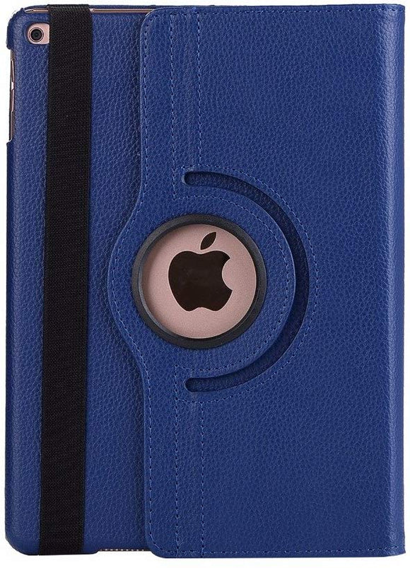 iPad 10.2/ iPad 7th gen 360 Rotating PU Leather Stand Case Hard Back Shell Cover (Navy Blue)