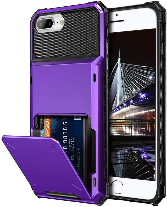 iPhone 7/8 Plus Credit Card Hyrbid case - Purple
