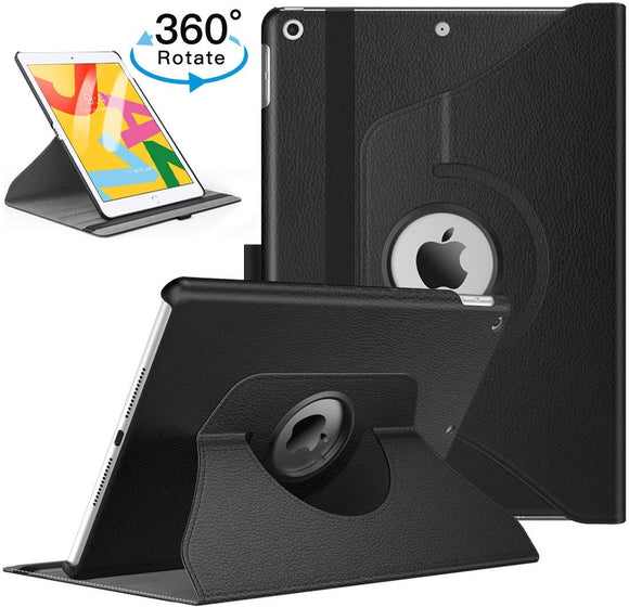 iPad 10.2/ iPad 7th gen 360 Rotating PU Leather Stand Case Hard Back Shell Cover (Black)