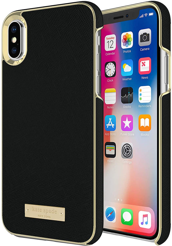 Kate Spade New York Saffiano Wrap Case for iPhone Xs/X - Black and Gold