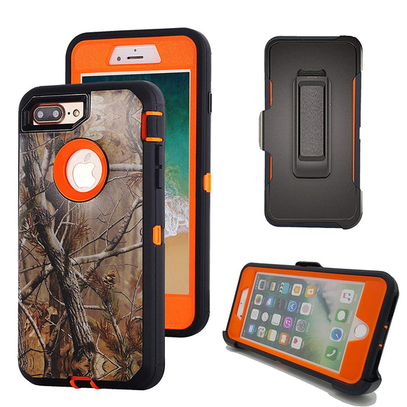 IPHONE 8 PLUS / 7 PLUS HEAVY DUTY CAMO RUGGED PROTECTIVE CASE WITH BELT CLIP BUILT-IN SCREEN PROTECTOR  (TREE ORANGE)