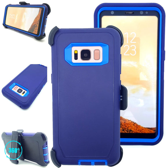 Galaxy S8 case,Vodico Heavy Duty High Impact Scratch Resistant Hard Plastic+Soft Silicon Rubber Tough Armor Defender Protective Case Cover with Belt Clip Holster For Smasung Galaxy S8 (Navy Blue)