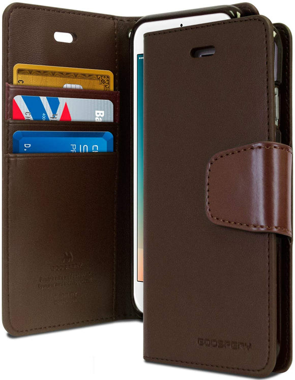 Goospery Sonata Wallet for Apple iPhone 8 Plus Case (2017) iPhone 7 Plus Case (2016) Leather Stand Flip Cover (Brown)