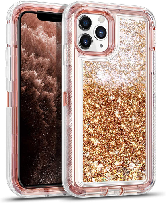 iPhone 11 Pro Case for Women Girls Glitter Cute Shockproof Protective Heavy Duty Clear Case with Sparkle Quicksand Hard Bumper Soft TPU Cover for iPhone 11 Pro,5.8 Inches,RoseGold