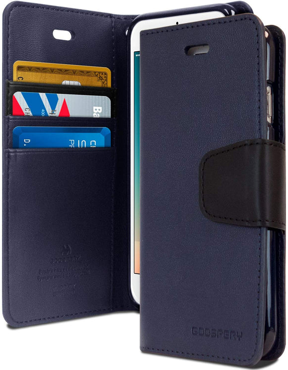 Goospery Sonata Wallet for Apple iPhone 8 Plus Case (2017) iPhone 7 Plus Case (2016) Leather Stand Flip Cover (Navy)