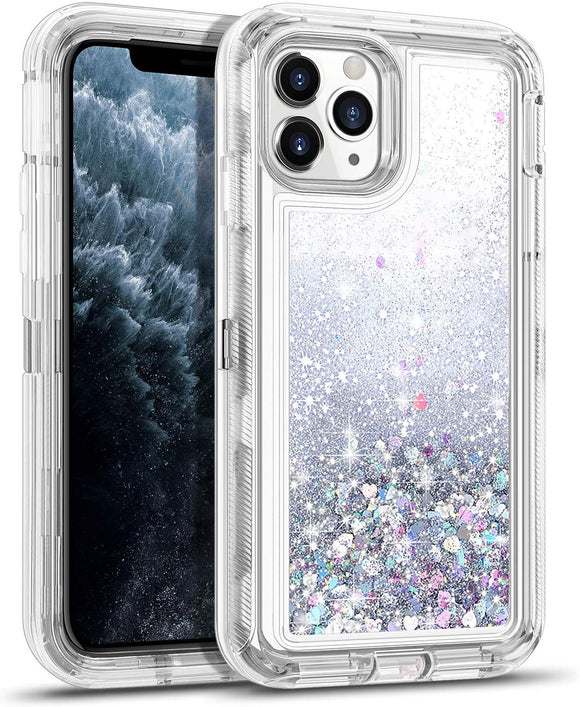 iPhone 11 Pro Max Case for Women Girls Glitter Cute Shockproof Protective Heavy Duty Clear Sparkle Quicksand Hard Bumper Soft TPU Cover for iPhone 11 Pro Max,6.5 Inches,Silver