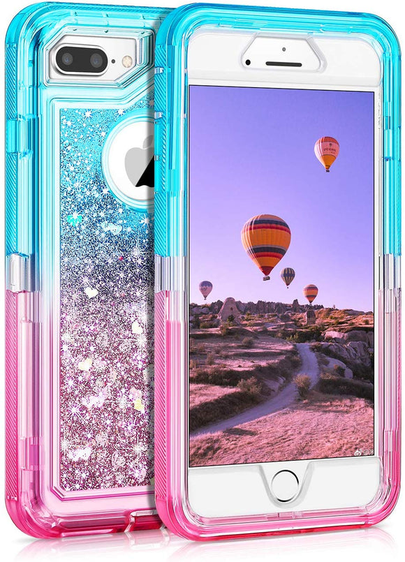 Phone Case Glitter iPhone 7/8 Plus Case - Aqua Pink