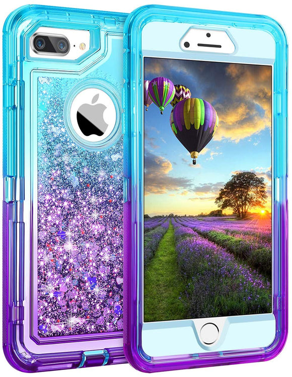 Phone Case Glitter iPhone 7/8 Plus Case - Aqua Purple