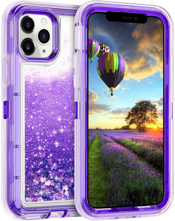 iPhone 11 Pro Cases Protective Glitter Case for Women Girls Cute Bling Sparkle Heavy Duty Hard Shell Shockproof TPU Case for 2019 Release 5.8 Inches iPhone 11 Pro , Purple