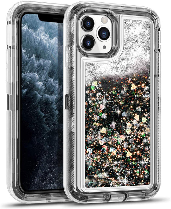 iPhone 11 Pro Case for Women Girls Glitter Cute Shockproof Protective Heavy Duty Clear Case with Sparkle Quicksand Hard Bumper Soft TPU Cover for iPhone 11 Pro,5.8 Inches,Black