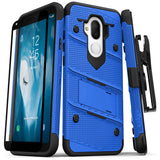 ALCATEL 7 / REVVL 2 PLUS - BLUE & BLACK - BOLT CASE WITH BUILT IN KICKSTAND HOLSTER AND TEMPERED GLASS SCREEN PROTECTOR