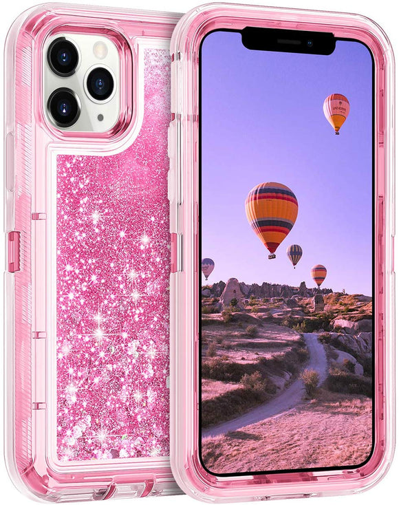 iPhone 11 Pro MAX Cases Protective Glitter Case for Women Girls Cute Bling Sparkle Heavy Duty Hard Shell Shockproof TPU Case for 2019 Release 6.5 Inches iPhone 11 Pro MAX, Pink