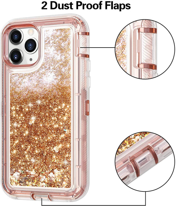 iPhone 11 Pro Max Case for Women Girls Glitter Cute Shockproof Protective Heavy Duty Clear Sparkle Quicksand Hard Bumper Soft TPU Cover for iPhone 11 Pro Max,6.5 Inches,RoseGold