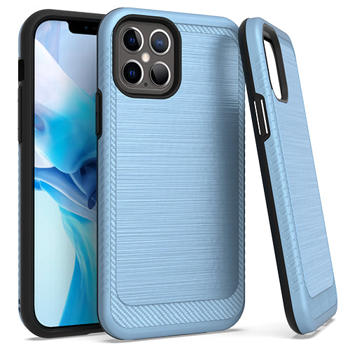 iPhone 12 Pro MAX 6.7 Metal Stand Brushed Case Blue