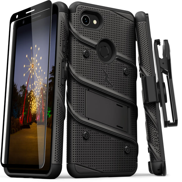 ZIZO BOLT GOOGLE PIXEL 3A XL CASE - BUILT IN KICKSTAND BELT HOLSTER AND TEMPERED GLASS SCREEN PROTECTOR