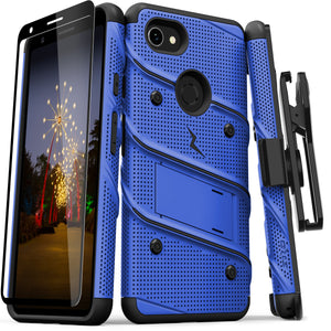 ZIZO BOLT GOOGLE PIXEL 3A XL CASE - BUILT IN KICKSTAND BELT HOLSTER AND TEMPERED GLASS SCREEN PROTECTOR- Blue/Black