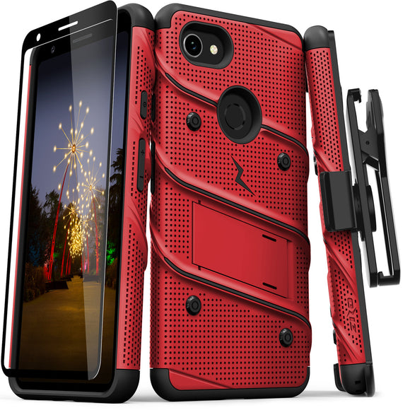 ZIZO BOLT GOOGLE PIXEL 3A XL CASE - BUILT IN KICKSTAND BELT HOLSTER AND TEMPERED GLASS SCREEN PROTECTOR- Red/Black
