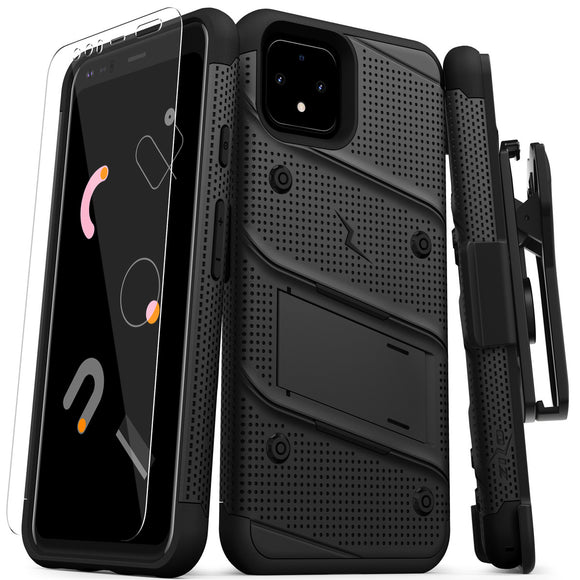 ZIZO BOLT GOOGLE PIXEL 4 XL CASE - BUILT-IN KICKSTAND BELT HOLSTER AND TEMPERED GLASS SCREEN PROTECTOR - BLACK/BLACK