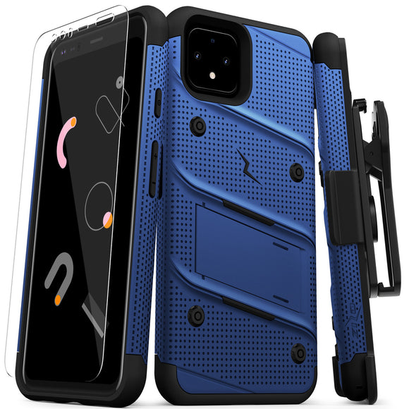 ZIZO BOLT GOOGLE PIXEL 4 XL CASE - BUILT-IN KICKSTAND BELT HOLSTER AND TEMPERED GLASS SCREEN PROTECTOR - BLUE/BLACK
