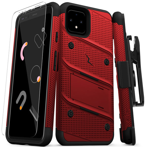 ZIZO BOLT GOOGLE PIXEL 4 XL CASE - BUILT-IN KICKSTAND BELT HOLSTER AND TEMPERED GLASS SCREEN PROTECTOR - RED/BLACK