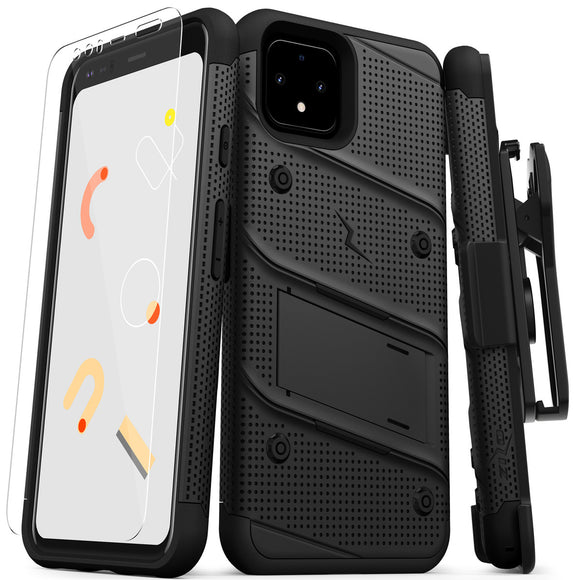 ZIZO BOLT GOOGLE PIXEL 4 CASE - BUILT-IN KICKSTAND BELT HOLSTER AND TEMPERED GLASS SCREEN PROTECTOR - BLACK/BLACK