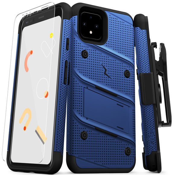 ZIZO BOLT GOOGLE PIXEL 4 CASE - BUILT-IN KICKSTAND BELT HOLSTER AND TEMPERED GLASS SCREEN PROTECTOR - BLUE/BLACK