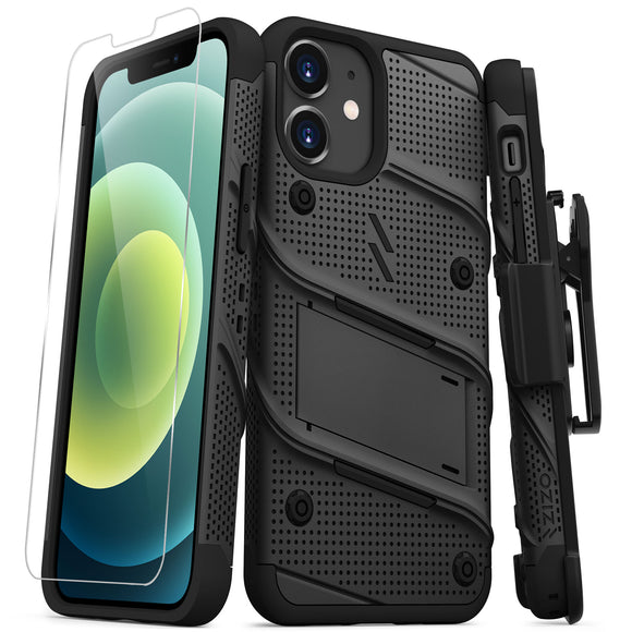 ZIZO BOLT SERIES IPHONE 12 MINI CASE WITH TEMPERED GLASS - BLACK