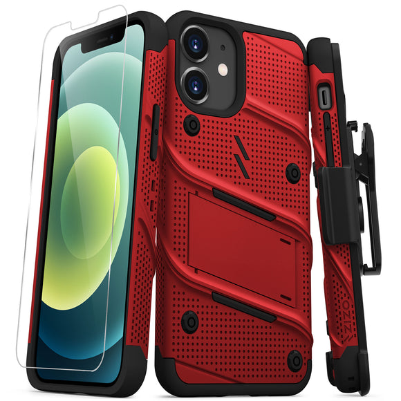 ZIZO BOLT SERIES IPHONE 12 MINI CASE WITH TEMPERED GLASS - RED & BLACK