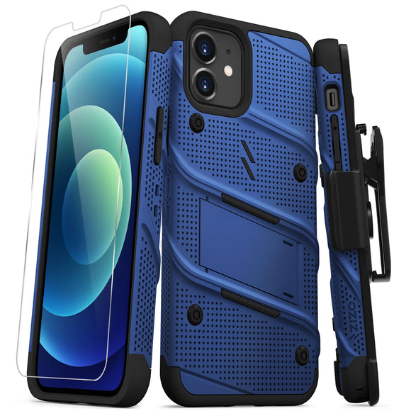 ZIZO BOLT SERIES IPHONE 12 / IPHONE 12 PRO CASE WITH TEMPERED GLASS - BLUE & BLACK