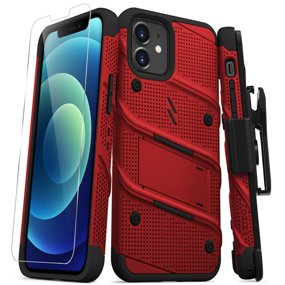 ZIZO BOLT SERIES IPHONE 12 / IPHONE 12 PRO CASE WITH TEMPERED GLASS - RED & BLACK