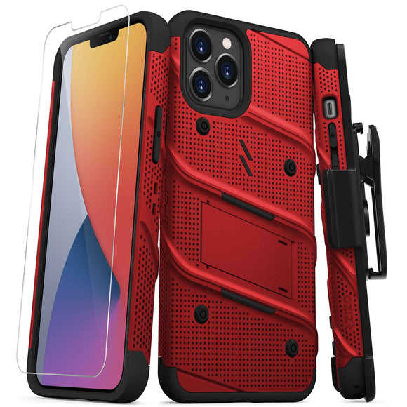 ZIZO BOLT SERIES IPHONE 12 PRO MAX CASE WITH TEMPERED GLASS - RED & BLACK