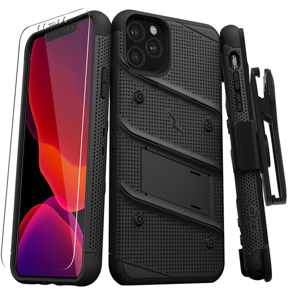 ZIZO BOLT IPHONE 11 PRO (2019) CASE - BUILT-IN KICKSTAND BELT HOLSTER TEMPERED GLASS SCREEN PROTECTOR-Black
