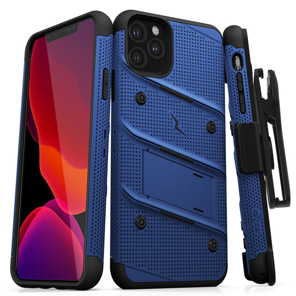 ZIZO BOLT IPHONE 11 PRO (2019) CASE - BUILT-IN KICKSTAND BELT HOLSTER TEMPERED GLASS SCREEN PROTECTOR-Blue/black
