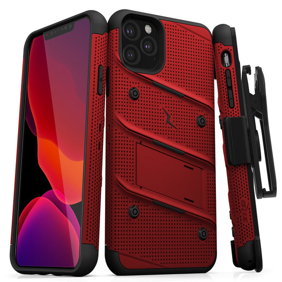 ZIZO BOLT IPHONE 11 PRO (2019) CASE - BUILT-IN KICKSTAND BELT HOLSTER TEMPERED GLASS SCREEN PROTECTOR-Red/Black