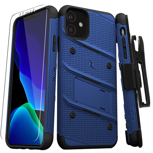 ZIZO BOLT SERIES IPHONE 11 (2019) CASE - BUILT-IN KICKSTAND BELT HOLSTER TEMPERED GLASS SCREEN PROTECTOR-Blue/Black