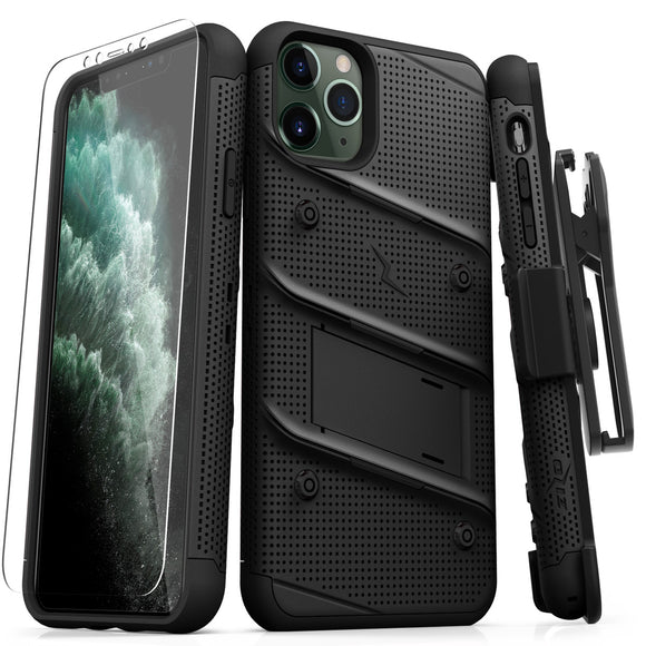 ZIZO BOLT IPHONE 11 PRO MAX (2019) CASE - BUILT-IN KICKSTAND BELT HOLSTER TEMPERED GLASS SCREEN PROTECTOR - Black / Black