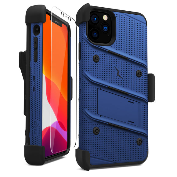 ZIZO BOLT IPHONE 11 PRO MAX (2019) CASE - BUILT-IN KICKSTAND BELT HOLSTER TEMPERED GLASS SCREEN PROTECTOR - Blue / Black