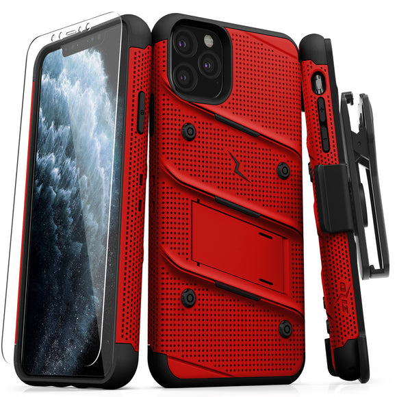ZIZO BOLT IPHONE 11 PRO MAX (2019) CASE - BUILT-IN KICKSTAND BELT HOLSTER TEMPERED GLASS SCREEN PROTECTOR - Red / Black