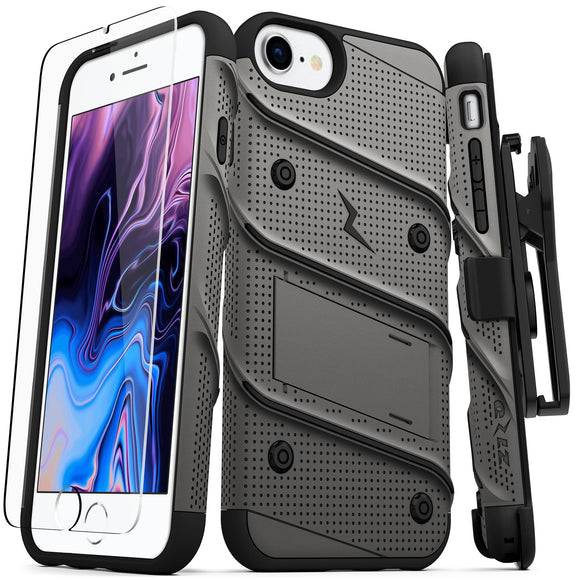IPHONE 8 / IPHONE 7 / 6S / 6 4.7IN - BOLT COVER W/ KICKSTAND, HOLSTER, TEMPERED GLASS SCREEN PROTECTOR, LANYARD- GREY/BLACK
