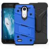 """FOR LG K30 / LG HARMONY 2 - BOLT COVER W/ KICKSTAND, HOLSTER, TEMPERED GLASS SCREEN PROTECTOR, LANYARD-Blue """