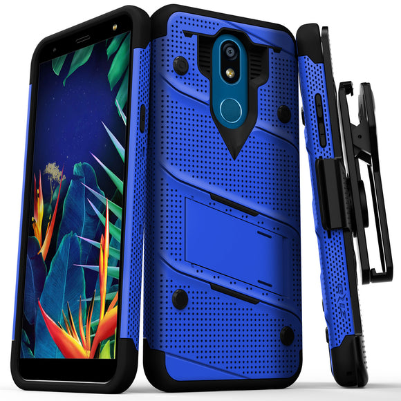 FOR LG K40 - BOLT CASE WITH BUILT IN KICKSTAND AND HOLSTER BELT CLIP-Blue&Black